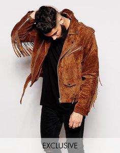 Замшевая байкерская куртка с бахромой Reclaimed Vintage - Коричневый