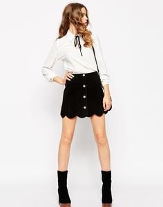Замшевая юбка‑трапеция на пуговицах с фигурным низом ASOS