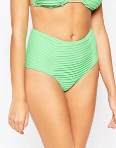 Плавки бикини с завышенной талией и плиссировкой ASOS Выбирай и комбинируй - Холодный зеленый
