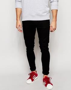 Черные однотонные супероблегающие джинсы Brooklyn Supply Co - Чистый черный