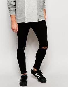 Черные джинсы скинни с рваными коленками Brooklyn Supply Co - Чистый черный
