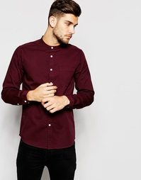 Саржевая рубашка с длинными рукавами и воротником на пуговицах ASOS - Burgundy