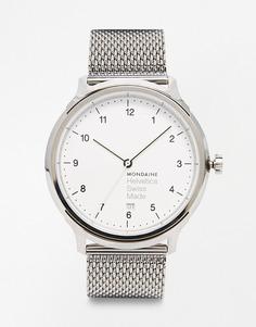 Часы с сетчатым браслетом Mondaine Helvetica - Серебряный