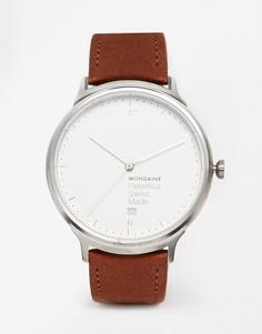 Часы с кожаным ремешком Mondaine Helvetica - Коричневый