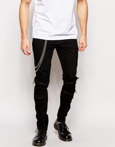 Супероблегающие джинсы с байкерской отделкой ASOS