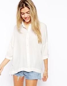 Oversize-блузка из жатой ткани ASOS - Слоновая кость