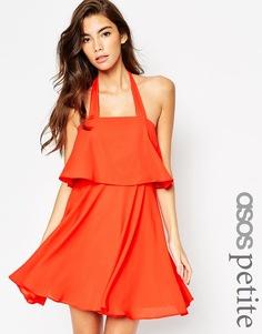Короткое приталенное платье на широких бретельках ASOS PETITE - Красный