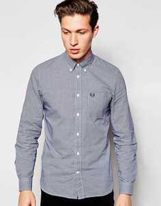 Рубашка в клеточку зауженного кроя с длинными рукавами Fred Perry - Темно-синий