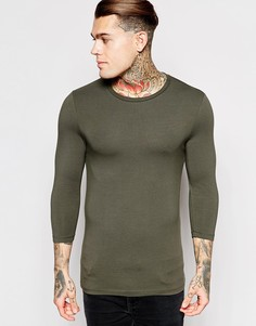 Облегающая футболка с круглым вырезом и рукавами 3/4 ASOS - Хаки