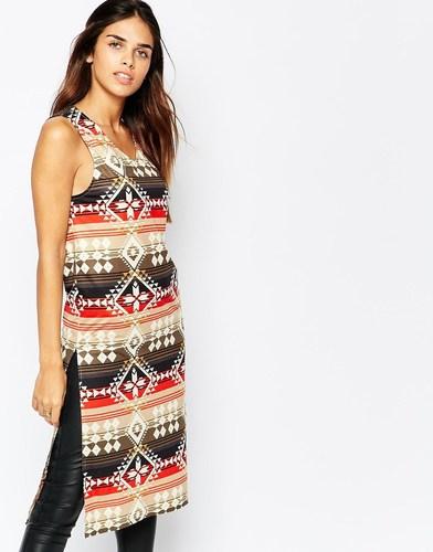 Платье миди с разрезами по бокам и ацтекским принтом Kiss The Sky - Мульти
