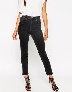 Черные джинсы слим в винтажном стиле с завышенной талией ASOS Farleigh - Выбеленный черный