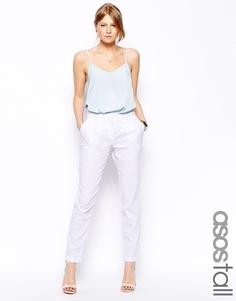 Удлиненные льняные брюки-галифе ASOS TALL - Белый