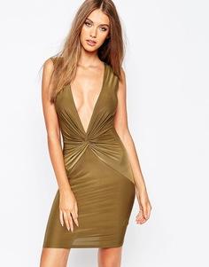 Платье с глубоким вырезом и узлом Missguided - Хаки