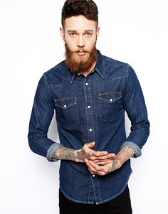 Рубашка в стиле вестерн из темно-синего денима Lee - Темный камень
