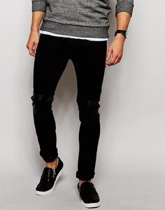 Черные джинсы скинни с нашивками из искусственной кожи Religion Noize - Черный