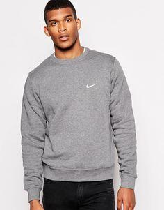 Свитшот с вышитым логотипом-галочкой Nike 611467-071 - Серый
