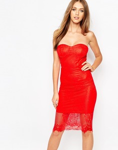 Платье-бандо с кружевом Missguided - Красный