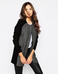 Пальто колор блок с серыми меланжевыми вставками Y.A.S - Серый