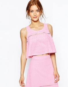 Майка-трапеция с цветочной вышивкой House Of Holland - Розовый