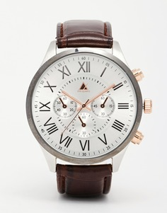 Часы с коричневым ремешком из искусственной кожи и корпусом из комбинированных металлов ASOS - Коричневый
