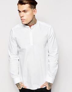 Рубашка с планкой 3/4 и воротником на пуговице ASOS - Белый