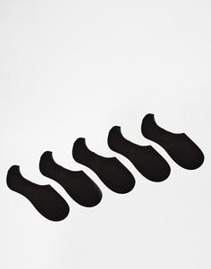 Комплект из 5 пар черных носков-невидимок ASOS,
