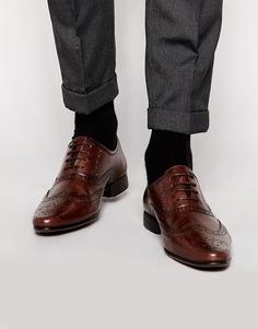 Оксфордские туфли-броги из натуральной кожи ASOS - Коричневый