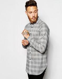 Удлиненная рубашка в клетку с длинными рукавами ASOS - Серый