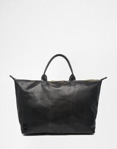 Дорожная сумка из искусственной кожи со змеиным принтом Mi-Pac - Черный
