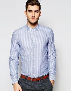 Строгая рубашка в оксфордскую полоску с длинными рукавами ASOS - Синий