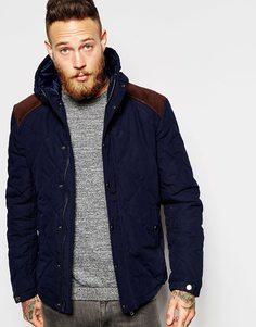 Стеганая куртка с капюшоном и вельветовой кокеткой ASOS - Темно-синий