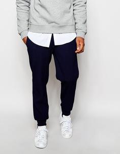 Укороченные штаны для бега слим из фактурного трикотажа ASOS - Темно-синий