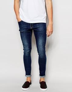 Синие супероблегающие джинсы с состаренным эффектом Brooklyn Supply Co - Синий с эффектом поношенности