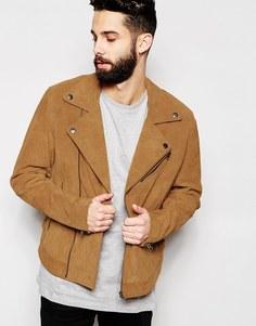 Замшевая байкерская куртка бежевого оттенка ASOS - Бежевый
