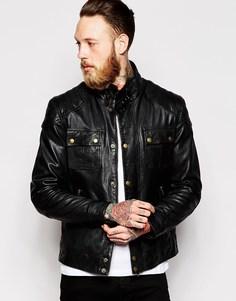 Черная кожаная куртка с нагрудным карманом ASOS - Черный