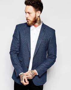 Пиджак зауженного кроя с узором гусиная лапка ASOS - Синий