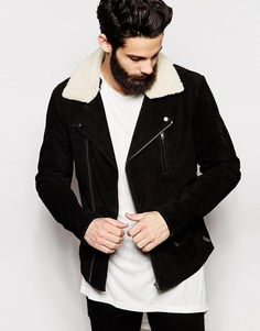 Кожаная куртка с отделкой из искусственной цигейки ASOS - Черный