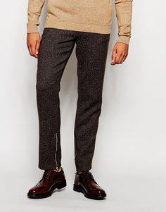 Строгие брюки слим в елочку с молниями ASOS - Коричневый