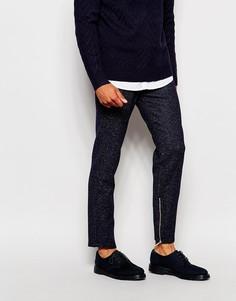 Строгие брюки слим в елочку с молниями ASOS - Темно-синий
