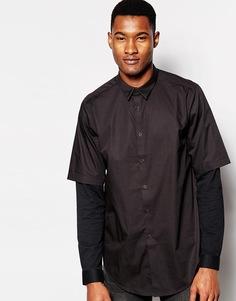 Рубашка с трикотажными вставками на рукавах ASOS - Черный