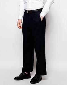 Укороченные строгие брюки с широкими штанинами из шерстяной смеси ASOS - Темно-синий