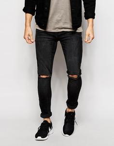 Супероблегающие рваные джинсы ASOS - Выбеленный черный1