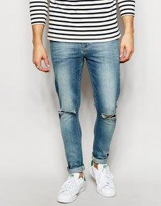 Ультразауженные джинсы скинни с рваными коленями ASOS - Светло-голубой