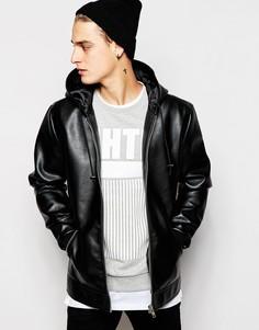 Куртка из искусственной кожи с капюшоном ASOS - Черный