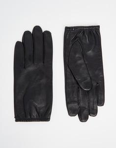 Однотонные кожаные перчатки для сенсорных гаджетов ASOS - Черный