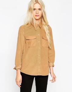 Повседневная вельветовая рубашка с контрастными карманами и воротником ASOS - Песок