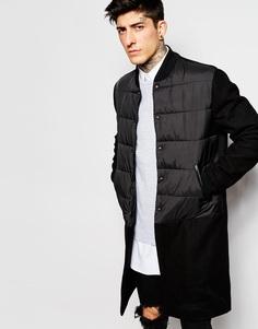 Удлиненная куртка-пилот со стеганым верхом ASOS - Черный