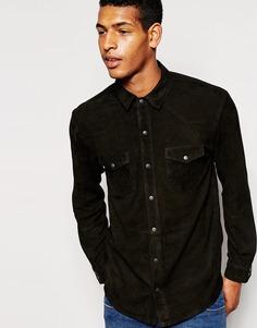 Рубашка из искусственной замши Selected Claude - Черный