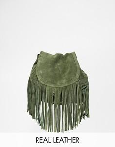 Замшевый рюкзак с бахромой Pieces - Зеленый