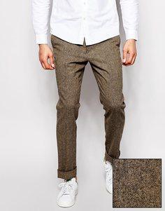 Строгие брюки слим ASOS - Коричневый